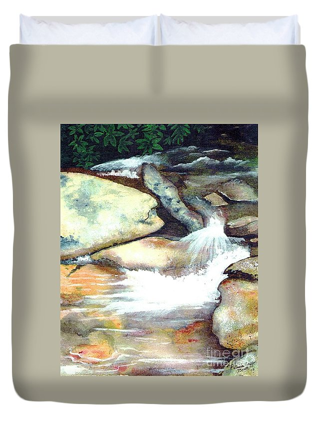 Fine Art Duvet Cover featuring the painting Smoky Mountains Waterfall by Patricia Griffin Brett