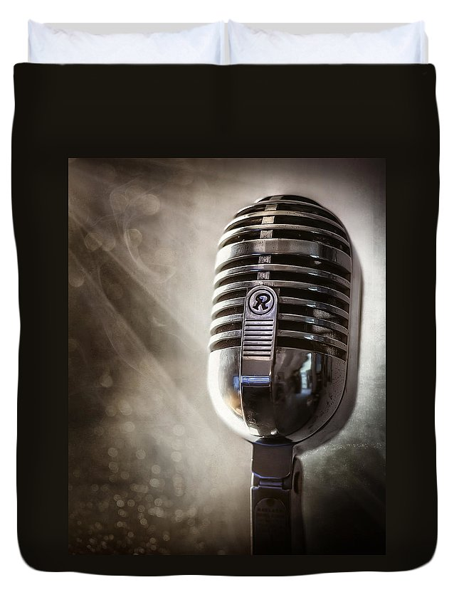 Mic Duvet Cover featuring the photograph Smoky Vintage Microphone by Scott Norris