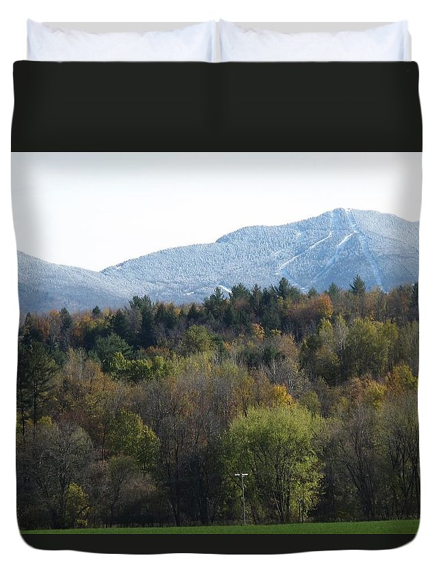 Mountain Duvet Cover featuring the photograph Smugglers Notch From Cambridge Vermont by Barbara McDevitt