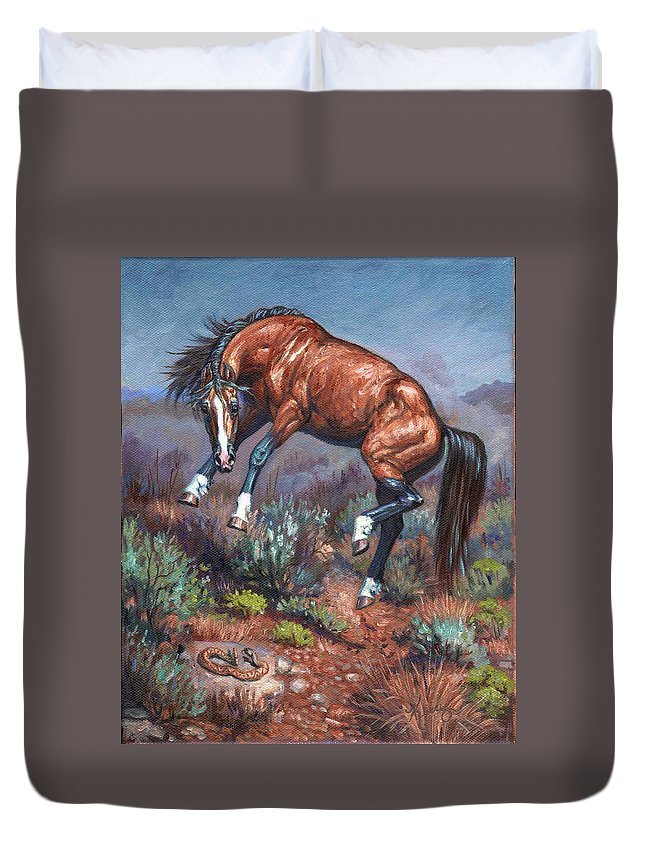 Wild Horses Duvet Cover featuring the painting Sn Neigh Kk by Kerry Nelson