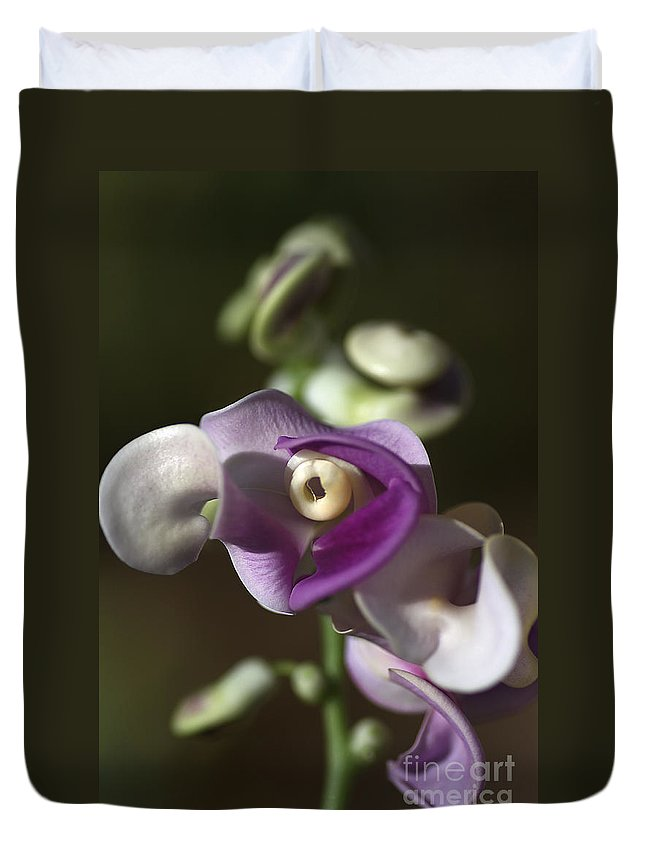 Snail Flower Duvet Cover featuring the photograph Snail Flower In The Spot Light by Joy Watson
