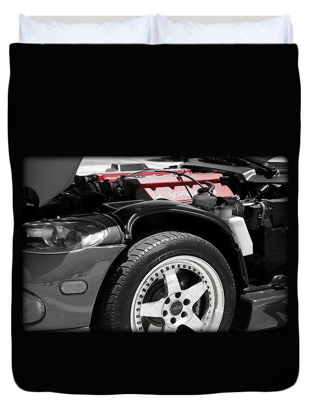 Dodge Duvet Cover featuring the photograph Snake Bite by Ricky Barnard