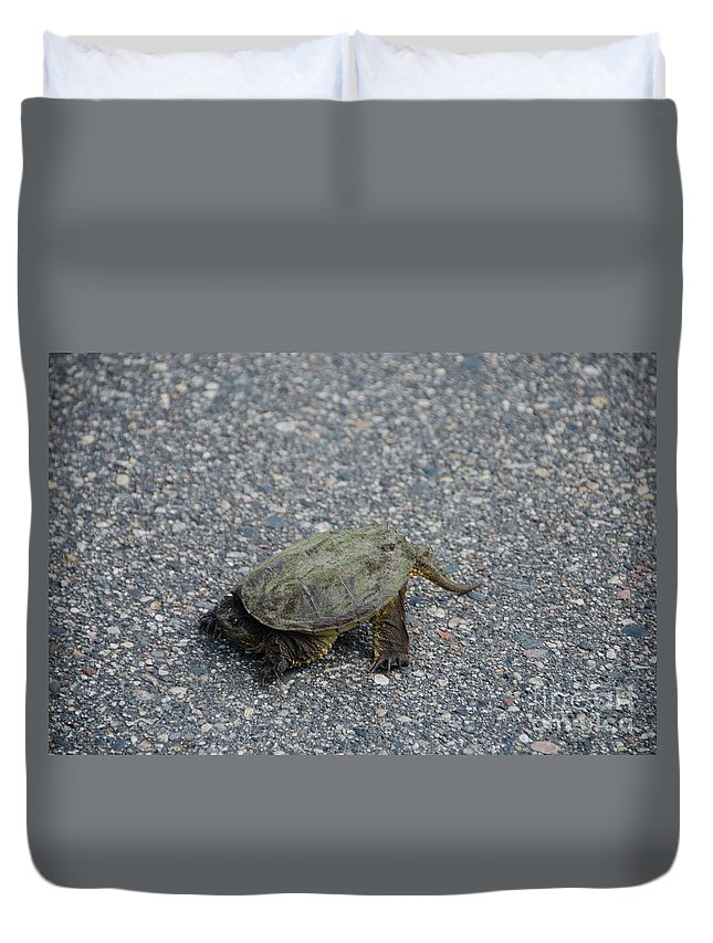 Itasca Duvet Cover featuring the photograph Snapping Turtle 3 by Cassie Marie Photography