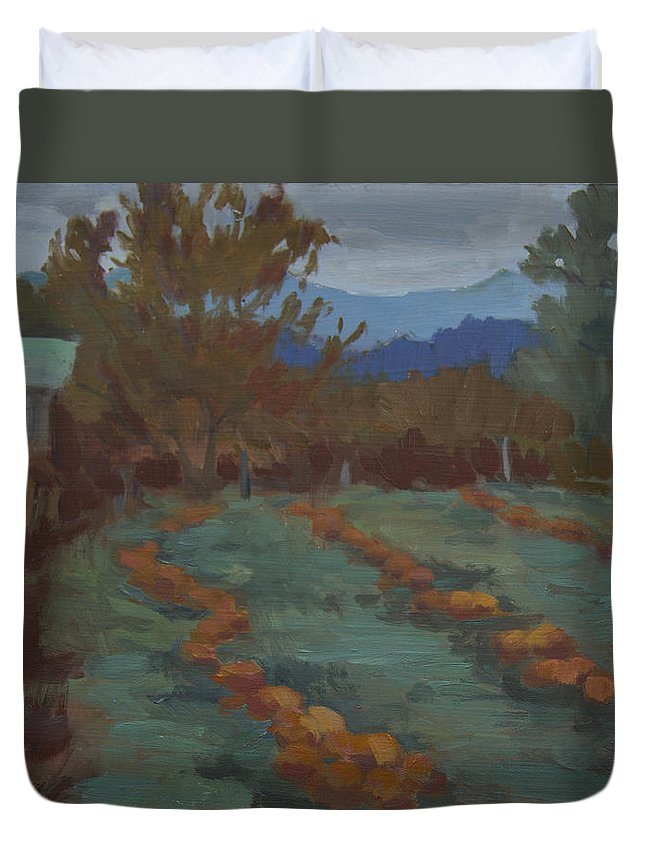 Snohomish Duvet Cover featuring the painting Snohomish Pumpkin Patch by Diane McClary