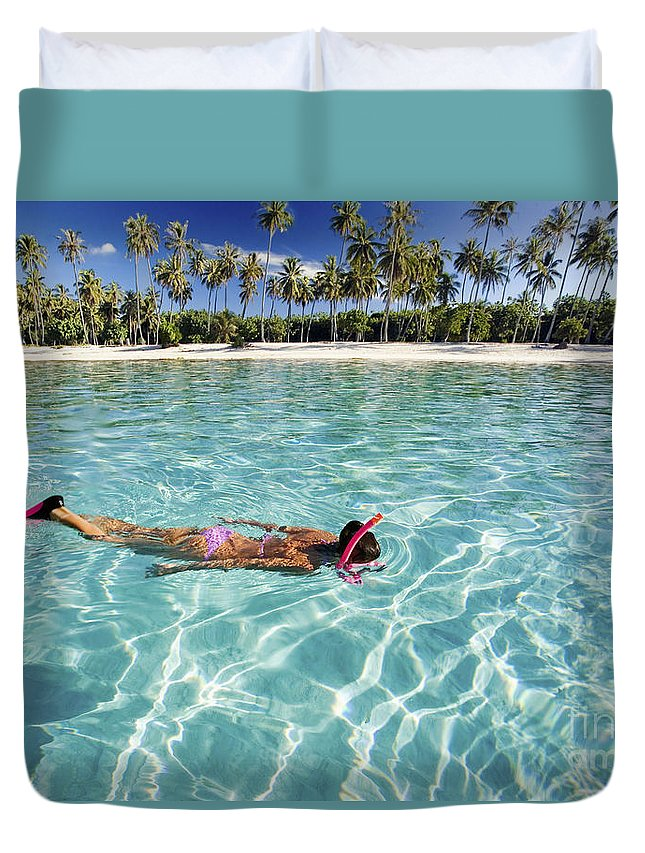 Amaze Duvet Cover featuring the photograph Snorkeling In Polynesia by M Swiet Productions