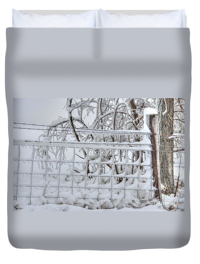 Snow Ice Duvet Cover featuring the photograph Snow - Ice - Fence by M Dale