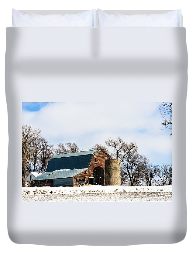 Barns Duvet Cover featuring the photograph Snow Barn by Edward Peterson