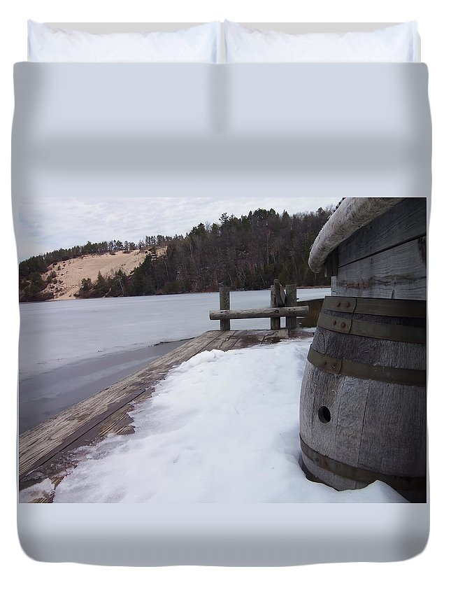 Boat Duvet Cover featuring the photograph Snow Barrel by Two Bridges North