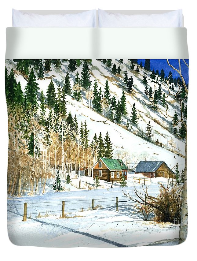 Water Color Paintings Duvet Cover featuring the painting Snow Bound by Barbara Jewell