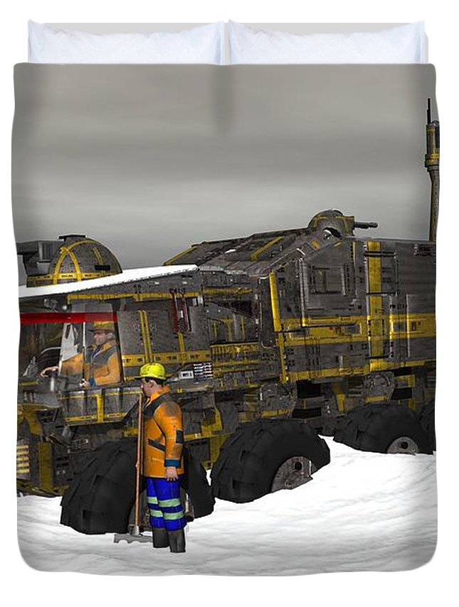 Digital Art Duvet Cover featuring the digital art Snow Bound by Michael Wimer