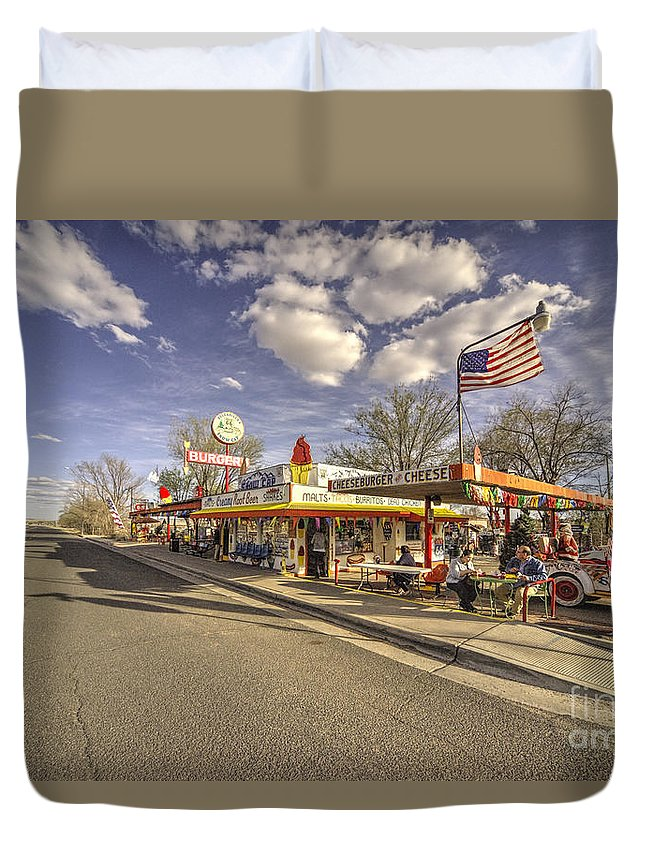 Route Duvet Cover featuring the photograph Snow Cap Cafe by Rob Hawkins