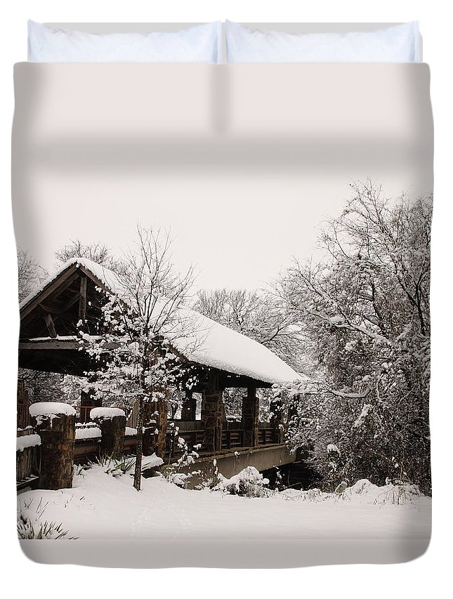 Bridge Duvet Cover featuring the photograph Snow Covered Bridge by Robert Frederick
