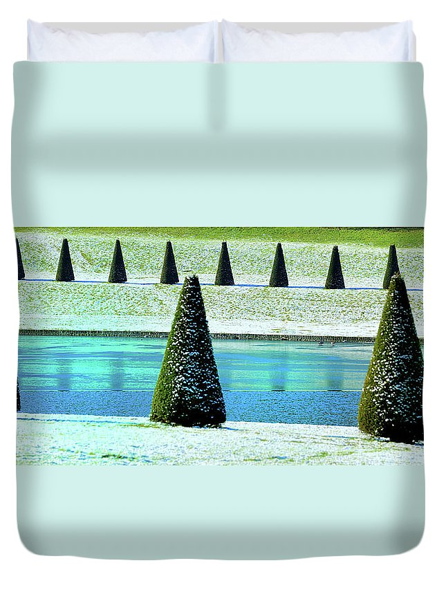 Tranquility Duvet Cover featuring the photograph Snow Covered Garden by Martial Colomb