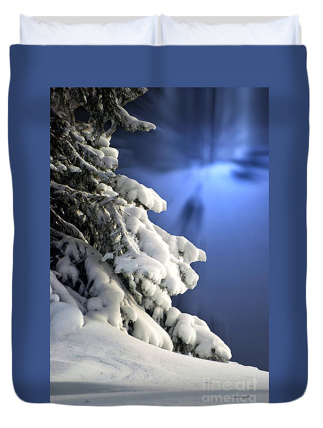 Tree Duvet Cover featuring the photograph Snow Covered Tree Branches by Thomas Woolworth