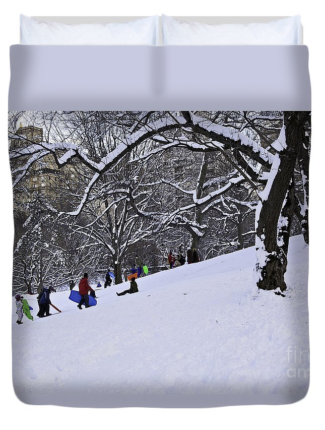 Owboards Duvet Cover featuring the photograph Snow Day In The Park by Madeline Ellis