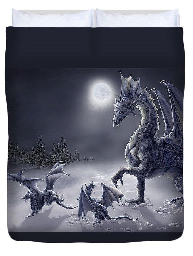 Dragon Duvet Cover featuring the digital art Snow Day by Rob Carlos