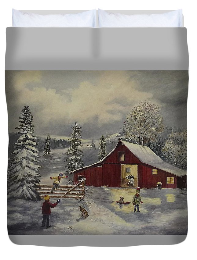 Barn Duvet Cover featuring the painting Snow Day  by Wanda Dansereau