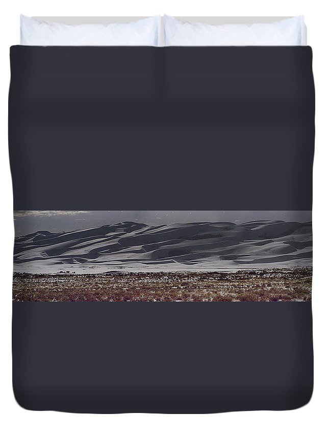 Landscape Duvet Cover featuring the photograph Snow Dunes By Night by Josh Baker