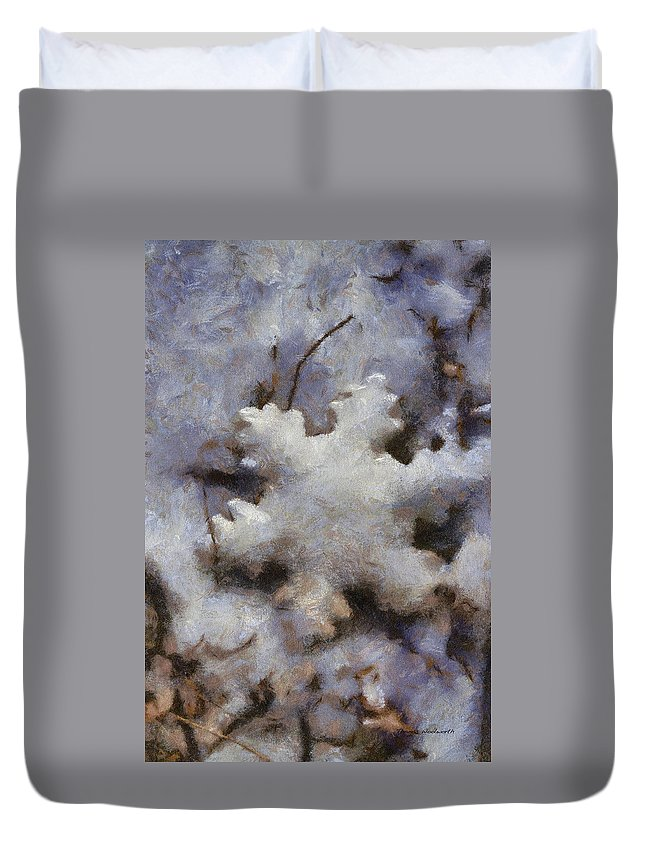 Season Duvet Cover featuring the photograph Snow Flake 02 Photo Art by Thomas Woolworth