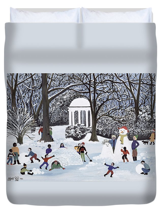 Igloo; Snowball; Snowmen; Ice Duvet Cover featuring the painting Snow Follies by Judy Joel