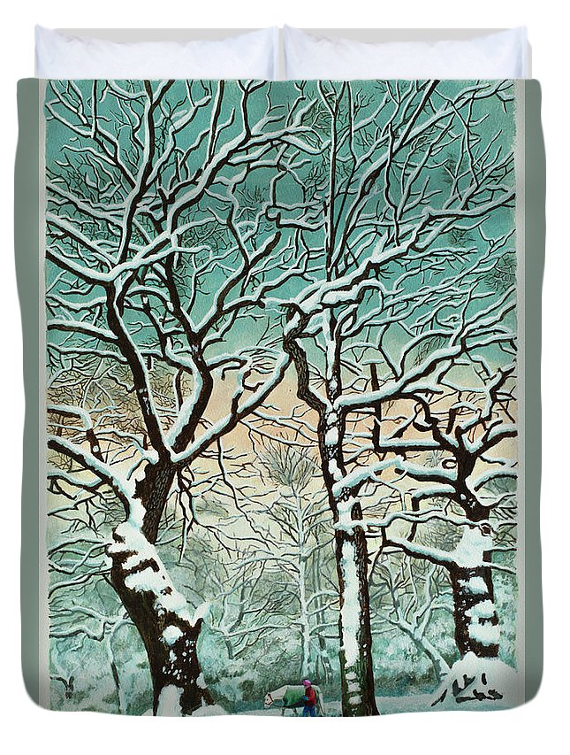 People Duvet Cover featuring the digital art Snow In Forest by Georgette Douwma