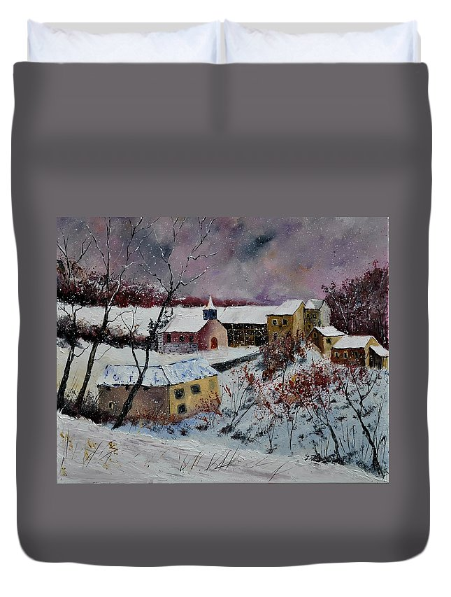 Landscape Duvet Cover featuring the painting Snow in Houroy 672131 by Pol Ledent