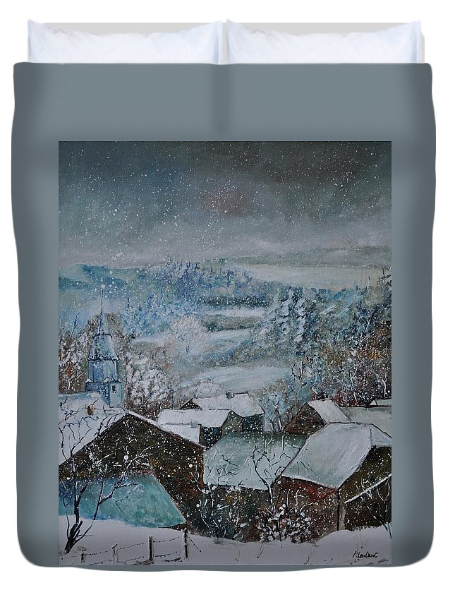 Landscape Duvet Cover featuring the painting Snow in Ouroy by Pol Ledent