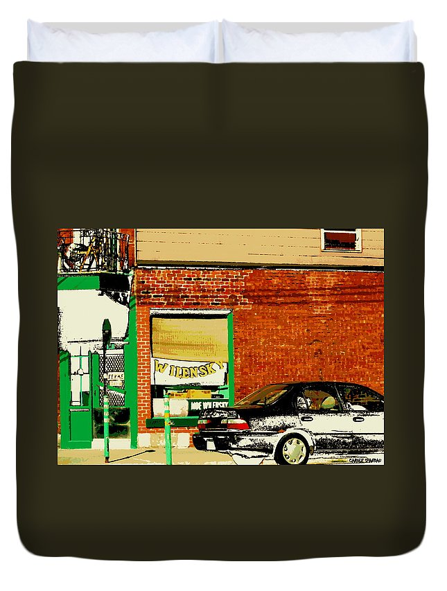 Montreal Duvet Cover featuring the painting Snow In Spring Wilensky Deli Green Door And Brick Wall Plateau Montreal City Scene Carole Spandau by Carole Spandau