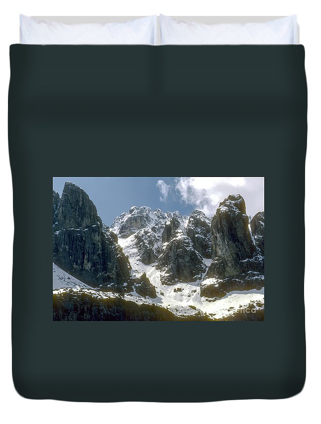 Dolomite Mountain Mountains Peaks Peak Snow Cloud Clouds Landscape Landscapes South Tyrol Tyrolean Alps Italy Snowscape Snowscapes Dolomites Duvet Cover featuring the photograph Snow In The Dolomites by Bob Phillips