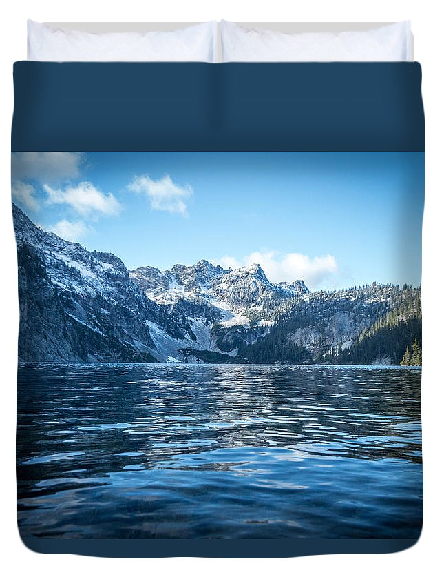 Alpine Lakes Wilderness Duvet Cover featuring the photograph Snow Lake by Ryan McGinnis