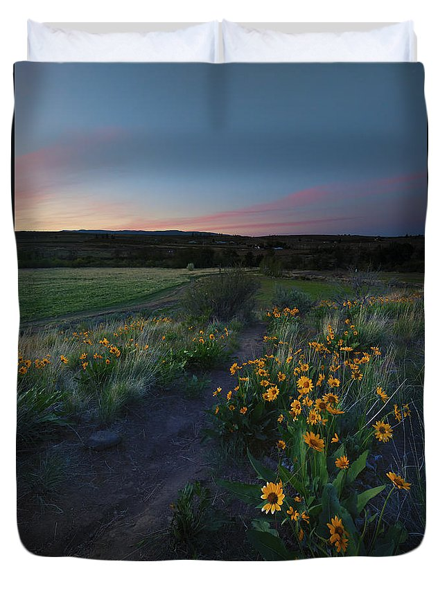 Trail Duvet Cover featuring the photograph Snow Mountain Trail by Mike Dawson