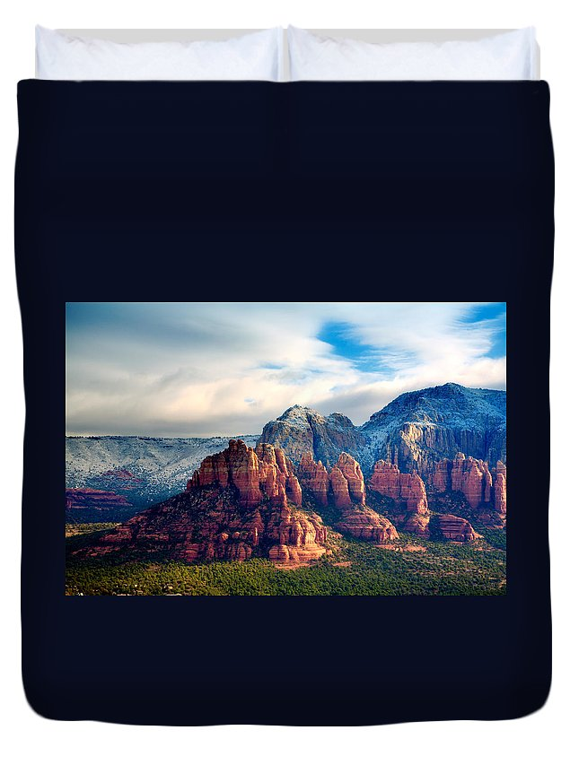 Red Rocks Duvet Cover featuring the photograph Snow On Red Rocks by Alexey Stiop