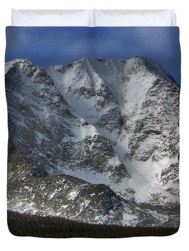 Longs Duvet Cover featuring the photograph Snow Peaks by David Kehrli