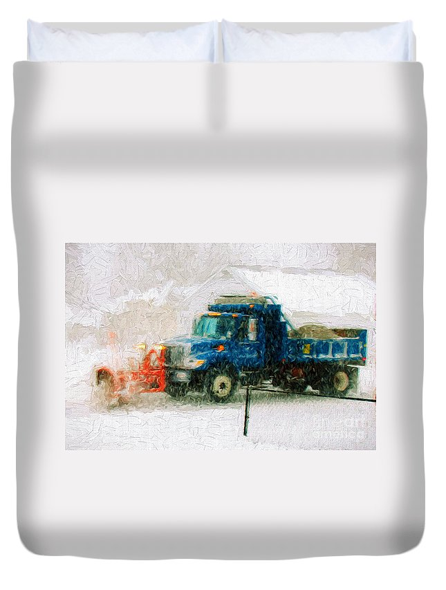 Andee Design Snow Plow Duvet Cover featuring the photograph Snow Plow Painterly by Andee Design