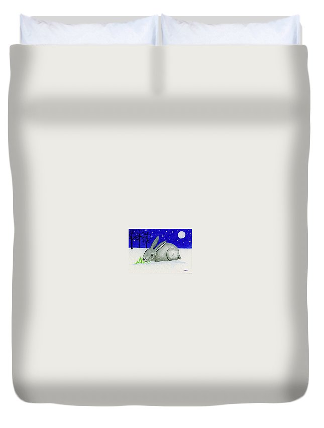 Rabbit Duvet Cover featuring the painting Snow Rabbit by Lori Ziemba