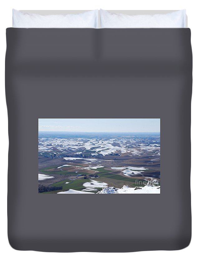 Palouse Duvet Cover featuring the photograph Snow Remnants On The Palouse by Sharon Elliott