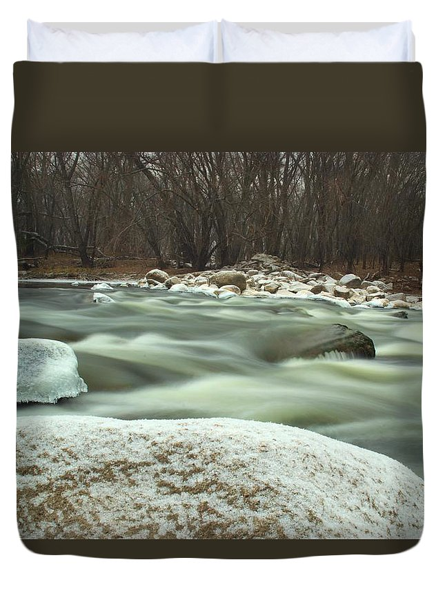 River Duvet Cover featuring the photograph Snow Rock by Bonfire Photography