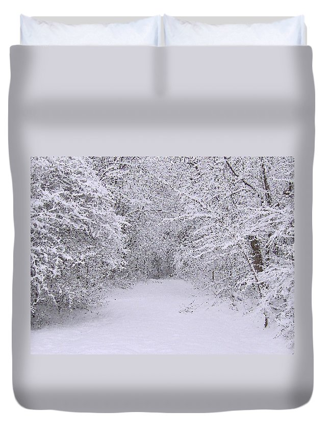 Winter Duvet Cover featuring the painting Snow Scene Neopointillism by Bruce Nutting