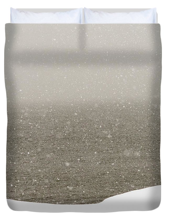 Snow Duvet Cover featuring the photograph Snow Sea Sky by Joseph Hedaya