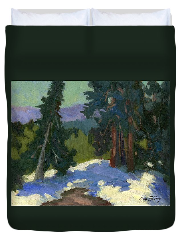 Mammoth Mountain Duvet Cover featuring the painting Snow Shadows Mammoth Mountain by Diane McClary