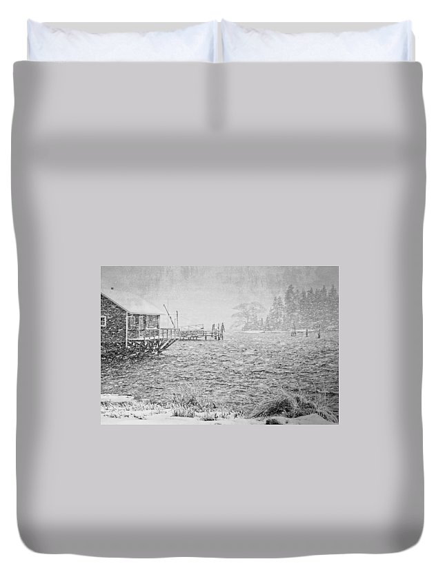 Winter Duvet Cover featuring the photograph Snow Storm In Bass Harbor On Mount Desert Island Maine by Keith Webber Jr