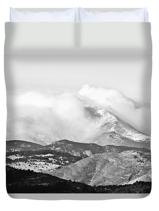 Colorado Duvet Cover featuring the photograph Snow Storm On The Twin Peaks Longs And Meeker by James BO Insogna