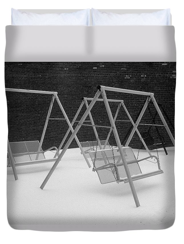 Fine Art Duvet Cover featuring the photograph Snow Swings by Rodney Lee Williams