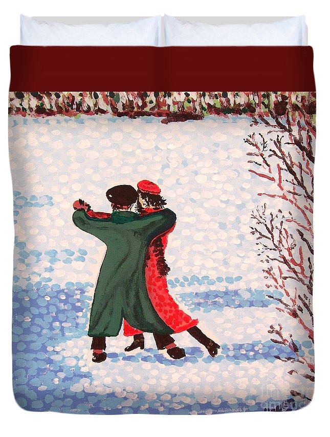 Snow Duvet Cover featuring the painting Snow Tango by Alan Hogan