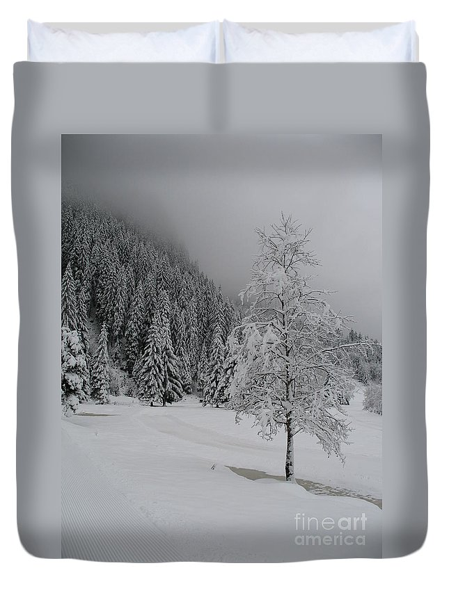 Snow Duvet Cover featuring the photograph Snow Tree by Christiane Schulze Art And Photography