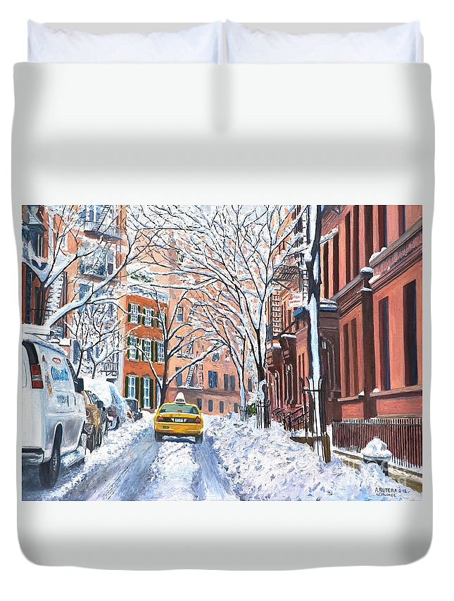 Snow Duvet Cover featuring the painting Snow West Village New York City by Anthony Butera