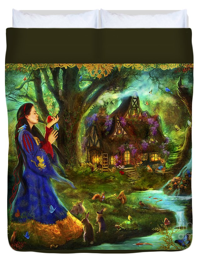 Aimee Stewart Duvet Cover featuring the digital art Snow White by MGL Meiklejohn Graphics Licensing