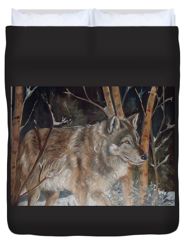 A Wolf In Snow Surrounded By Trees. Browns Duvet Cover featuring the painting Snow Wolf by Charme Curtin