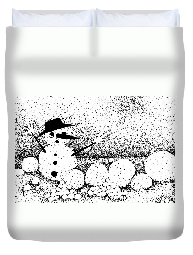 Designs Duvet Cover featuring the drawing Snowball Fight by Joy Bradley
