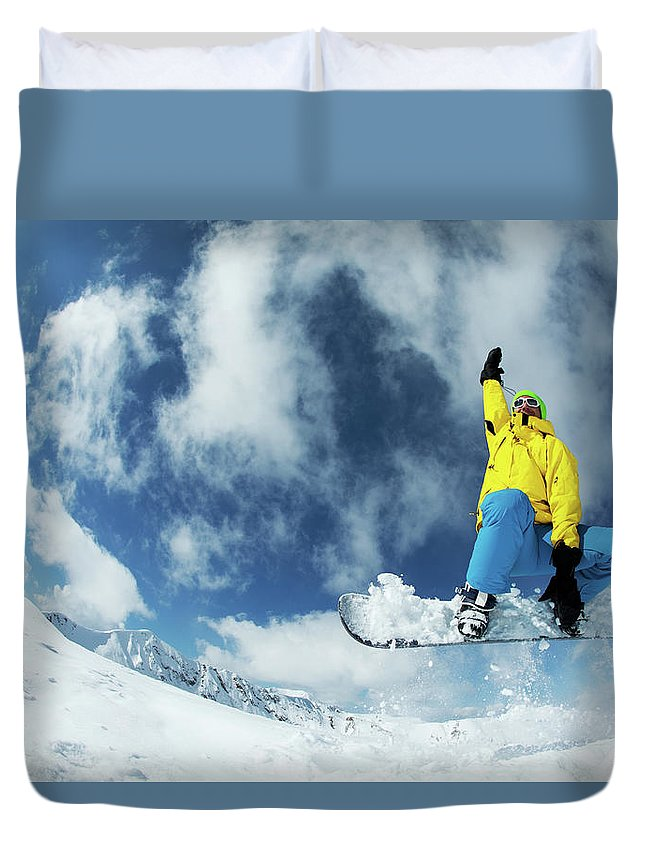 Young Men Duvet Cover featuring the photograph Snowboarding by Yulkapopkova